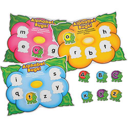 PreK - Grade 1. Teach alphabet recognition with this engaging kit that includes 54 colorful foam bugs with upper and lowercase letters along with 10 two sided flower mats. Children match the letters on the bugs to those on the flower mats. That can match same-case letters, or match upper case to lowercase and vice-versa.  Includes a 4 page activity guide.