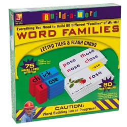 Hands-on phonics kits include all the tools you need to teach early reading concepts and build hundreds of words. Colorful, photo flash cards are paired with color-coded, durable, plastic letter tiles to help students See, Say and Build words! Word family tiles are coded by onset and rime. All tiles are double-sided. Each kit includes 80 photo flash cards, activity guide and appropriate letter tiles.