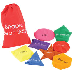 "3 years & up. It's time to shape up with these toss-and-learn bean bags. Each bean bag is a different color and shape - circle, square, triangle, rectangle, oval, pentagon, hexagon, and star - with its name beautifully embroidered. Bean bags are approximately 4"" to 5"" in size, just perfect for small hands, and come in a handy cloth drawstring bag. Includes a ""Tip Sheet"" packed with fun activities that make learning shapes an exciting visual and kinesthetic experience."