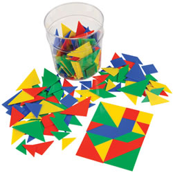 Tangrams Geometric Shapes with Storage Jar