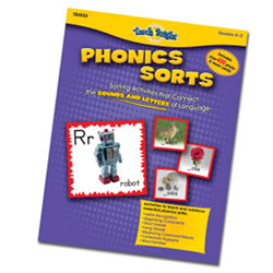 Includes over 400 colorful photo, word and letter sorting cards plus a 16-page teacher resource guide. Skills include letter recognition, beginning consonants, long & short vowels, beginning consonant blends, consonant blends, consonant digraphs, and word families.