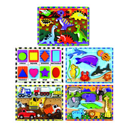 Colorful Hand-Painted Playful Chunky Puzzles - Set of 5