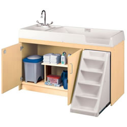 Walk Up Changing Table with Left Hand Sink and Right Stairs - Natural