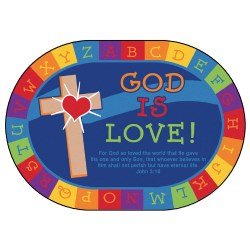 God Is Love Learning KID$ Value PLUS Rug - Oval 6' x 9'