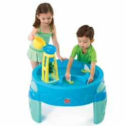 "12 months & up. Perfect for indoor or outdoor water play. Features a water wheel tower to encourage cause and effect learning, elevated design to keep water at toddler level and will accommodate up to 3 children. Includes 1 cup, 2 sailboats and water wheel tower. Holds up to 4 gallons of water. Measures 27.88""H x 31 1/2""W x 31 1/2""D. From floor to the top of the table is 17"". Some assembly required."