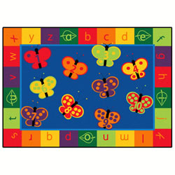 123 ABC Butterfly Fun Rectangle Rug 5'5'' x 7'8''
