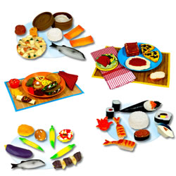 3 years & up. Introduce children to different types of food from around the world with these food sets. All made of durable, safe vinyl. Placemats, plates, and napkins are not included.
