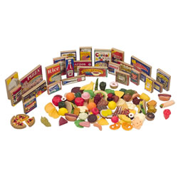 2 years & up. Expand your kitchen with this 125-piece set of grocery store products, which includes an assortment of food, personal care products, and international foods. Twenty-four items are hand painted on safe, durable hard wood combined with 101 soft molded everyday foods. (Foods may vary slightly from those shown)