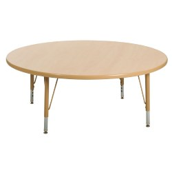 "Nature Color 48"" Round Table 15-24"" Adjustable Legs (Seats 4)"