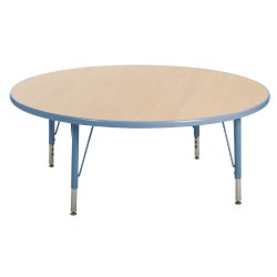 "Nature Color 48"" Round Table with 21-30"" Adjustable Legs - Light Blue"