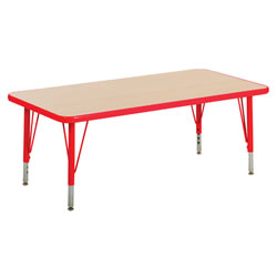 "Nature Color 30x60 Rectangle Table 15-24"" Adjustable Legs - Red"