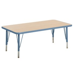 "Nature Color 24x48 Rectangle Table with 21-30"" Adjustable Legs - Light Blue"