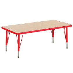 "Nature Color 30x60 Rectangle Table 21-30"" Adjustable Legs - Red"