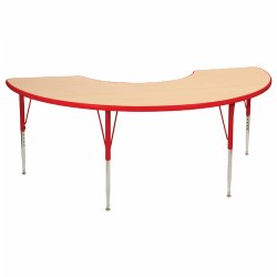 "Nature Color 36x72 Half Moon Table 21-30"" Adjustable Legs - Red"