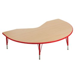 "Nature Color 48x72 Kidney Table 15-24"" Adjustable Legs - Red"