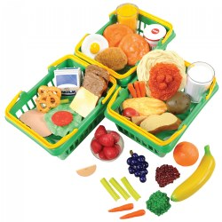 3 years & up. Encourage children to make healthy food choices with this set of breakfast, lunch, and dinner foods. All pieces are actual sized, washable, and come in a shopping baskets.