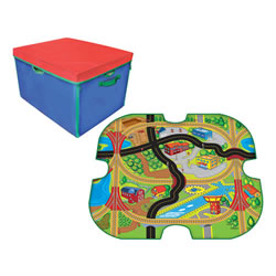 Zipbin Full Throttle Road and Rail Car ToyBox & Playmat