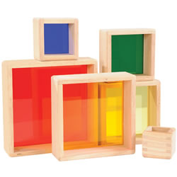2 years & up. Hardwood framed stacking tower has transparent bases for extended play. Perfect for color and size sorting, light table exploration or block play. 6 pieces.