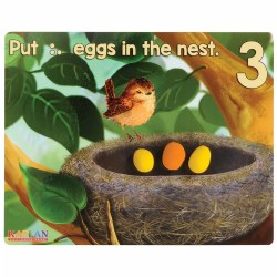 3 years & up. Children can create dough eggs to put in the birds nest! Each dough mat has a numeral and corresponding counting dots so children know how many dough eggs to make and place in the nest. These mats are a wonderful and engaging way to incorporate math and fine motor skills. Set of 9.