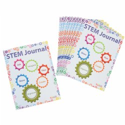 "3 years & up. This 8 page STEM Journal outlines how to utilize the scientific process in an early childhood classroom.  Each of the 8 1/2"" x 11"" pages provide a space for children to draw pictures along with developmentally appropriate lines to write text as they utilize the scientific method. Perfect addition to any science center! Set of 10 journals."