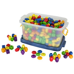 "Our jumbo-sized beads are just the right size for small hands and they're made of unbreakable plastic, so they'll stand up to years in the classroom. 360 chubby beads come in 6 shapes and 6 colors and have extra-big holes for no-fail stringing. Beads come in our plastic container and the round bead measures is 3/4""."