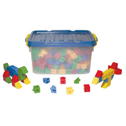 "3 years & up. All children will have fun connecting our unbreakable cubes. They come in 4 bright colors and 4 fun shapes and they snap together in any direction for unlimited building possibilities! The building set includes 360 rugged plastic cubes in a convenient storage tub; each piece measures 3/4""."