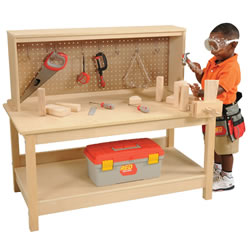 Wooden Workbench with Vise