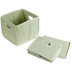 Waffle Folding Baskets - Sage (Set of 2)