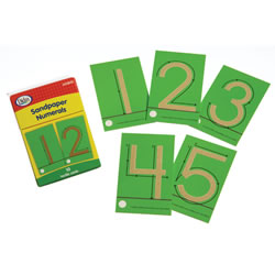 "Grades K - 1. Help children learn correct numeral formation through tactile experiences. 3 1/2"" numerals have directional arrows to ensure proper formation. Durable plastic cards, 0 - 9 measure 4 1/4"" x 2 5/8""."