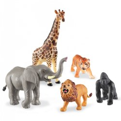 Realistic Looking Jumbo Jungle Animals for Imaginative Play - Set of 5