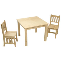 Natural Mission Table with 2 Chairs