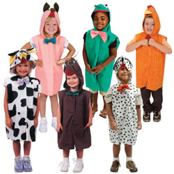 3 - 6 years. Realistic animal costumes are perfect for acting out stories, skits, and plays. Hook and loop closures in front for easy put-on and take-off and open face for visibility and safety. Cotton blend and machine washable in cold. Made in the USA. Available individually or in a set of six.