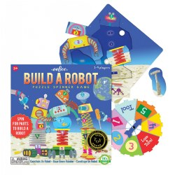 5 years & up. Players spin to place interchangeable robot parts in a puzzle frame. This game combines puzzle making, tools, machines, space, games, and counting all in one. For 1 - 4 players.