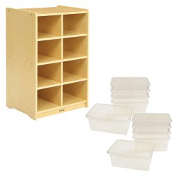Carolina 8 Cubbie Storage Unit with 10 Clear Bins