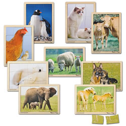 Mother and Baby Animal Puzzles - Set of 9