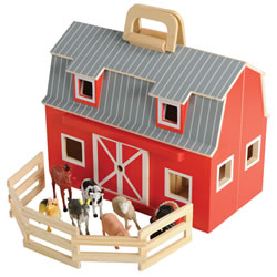 "3 years & up. Young future farmers will enjoy down on the farm?fun with this fully assembled, wooden barn. Two-story barn is stocked with seven realistic plastic farm animals, a wooden ladder and a folding corral. Chunky handles let you take this little bit of 'country' wherever you go. Foldable wooden barn comes complete with seven farm animals, folding corral and ladder. 13 1/2""L x 10 1/2""W x 7""D."