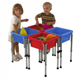 "2 years & up. Four to eight children can play at this station at one time. Mix and match sand and water play in each of the four bins. Legs adjust to three heights: 18 1/2"" 22"" and 24"". Complete unit measures approximately 30"" square. Includes lids for each bin. Colors may vary."