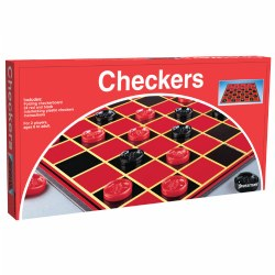 6 years & up. Includes folding game board, solid interlocking plastic, checkers and rules. 2 players