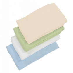 "Breathable cotton thermal blankets are machine washable. Measures 36' x 48"". Choose color."