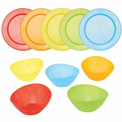Colorful Plates and Bowls (Set of 10 bowls and 10 plates)