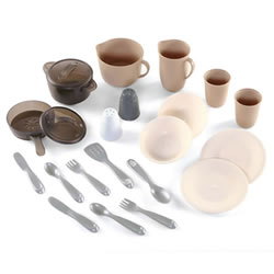 2 years & up. A durable 22 piece kitchen set for two with plates, bowls, tumblers, knives, forks, spoons, serving spoon, spatula, salt and pepper shakers, pitcher, pouring pot, frying pan, boiling pot, and lids.