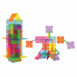 2 years & up. Add a new dimension to manipulative play. Simply clip the edges together to create an unlimited array of constructions. Build people, buildings, animals and more. Translucent plastic panels with inset details in five beautiful colors. Enhance the designs by creating them on top of a light table. 96 piece set.