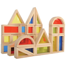 2 years & up. This set of 30 smooth, hardwood blocks has red, blue, green and yellow plexiglass inserts that will make play time a more colorful experience. The shapes include 8 squares, 10 rectangles, 8 triangles and 4 half-circles that will be sure to compliment and add nice accents with any other wood block sets you may own.