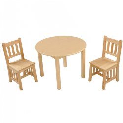 Natural Round Mission Table with 2 Chairs - 4-5 years