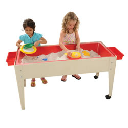 "5 years & up. Heavy duty plastic tub contours to a depth of 6"" at the center drain. Can be used inside or outside and includes a white plastic lid, two locking casters, and two snap-on caddies to hold toys. Measures 21""W x 46""L x 24""H."