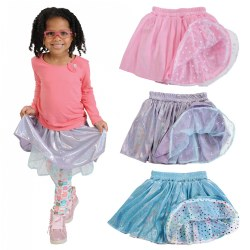 3 years & up. Lace, hearts, shiny dots and fun fabrics make up these fancy dance skirts. Set of 3 reversible skirts. Just flip over to reveal another exciting fabric! Fabrics may vary. Machine washable.