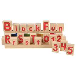 3 years & up. A cross-curricular approach for extending literacy skills to your block area. These multi-purpose wooden alphabet blocks feature bold, red letters in uppercase and lowercase. Fun to stack, create simple words, add interested to block play all while building letter recognition. 26 uppercase and 26 lowercase letters. 52 block set. (Number blocks not included in this set.)
