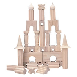 3 years & up. This 40 piece set of wooden columns and shapes inspired by Roman, English, Middle-Eastern and Asian architecture will add interest and different architectural elements to block creations. Compatible with unit blocks.
