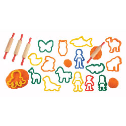 Brightly Colored Jumbo Dough and Clay Cutter Set with Rolling Pins