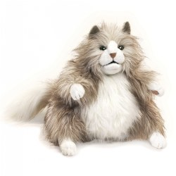 Fluffy Cat Hand Puppet With Movable Mouth